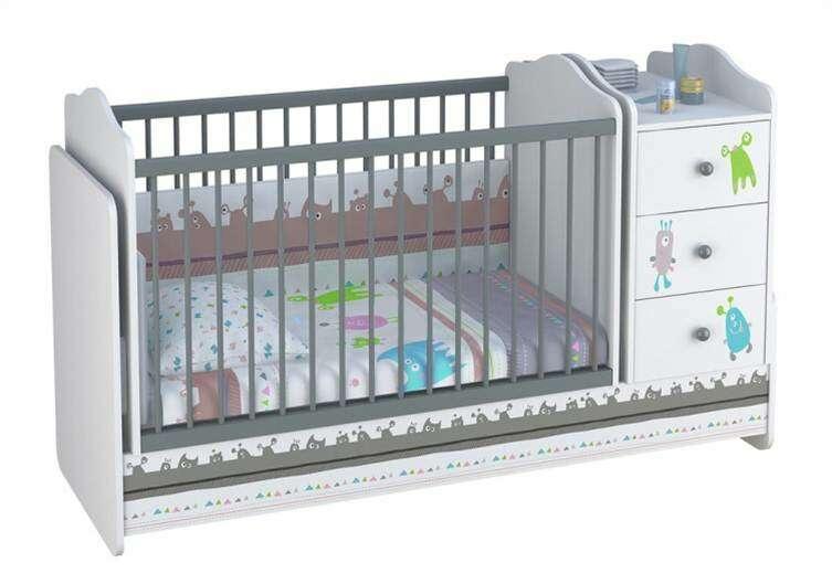 Кроватка-трансформер Фея Polini Монстрики, (белый-серый)
