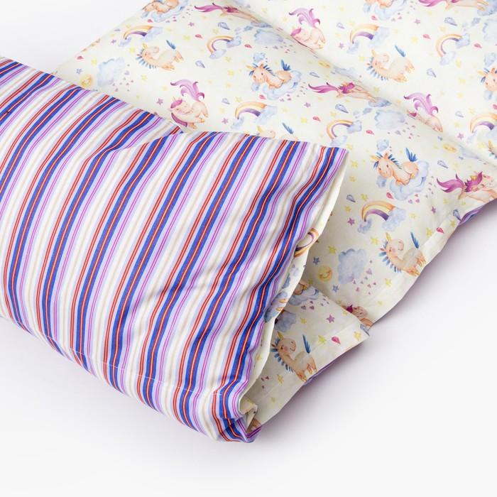Матрасик с подушками «Единороги» двусторонний 70×190 см, бязь/спанбонд