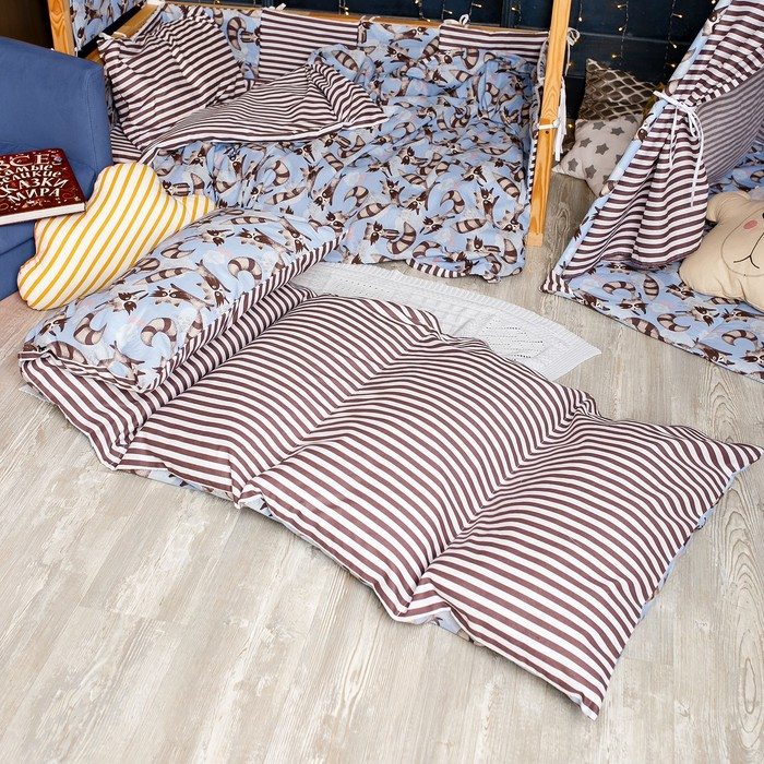 Матрасик с подушками «Еноты» двусторонний 70×190 см, бязь/спанбонд