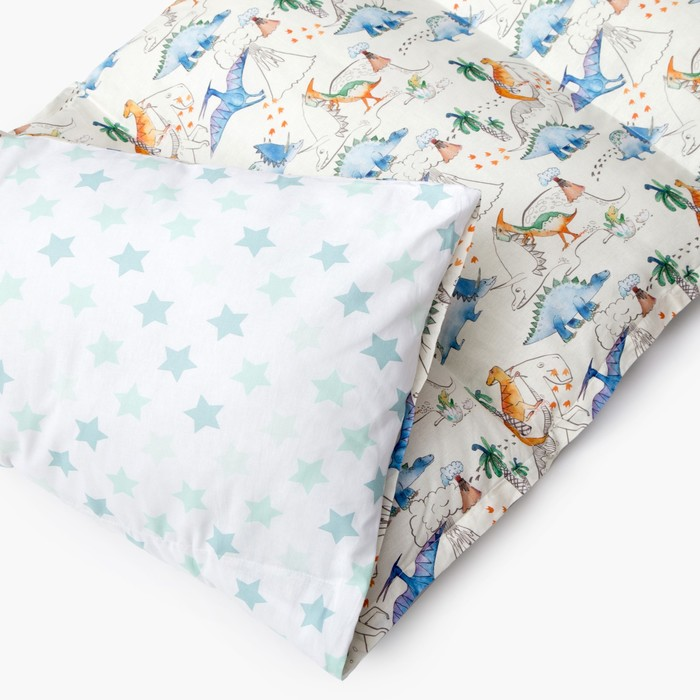Матрасик с подушками «Динозавры» двусторонний 70×190 см, бязь/спанбонд