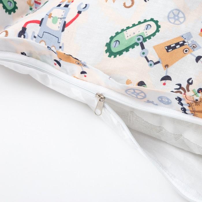 Матрасик с подушками «Роботы» двусторонний 70×190 см, бязь/спанбонд