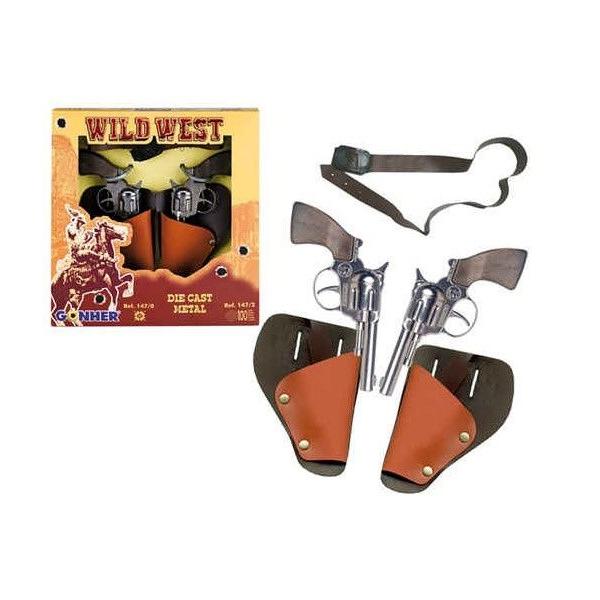 """Игрушечное оружие Gonher Cowboy. 2 револьвера в кобуре """"Wild West"""" с ремнем"""