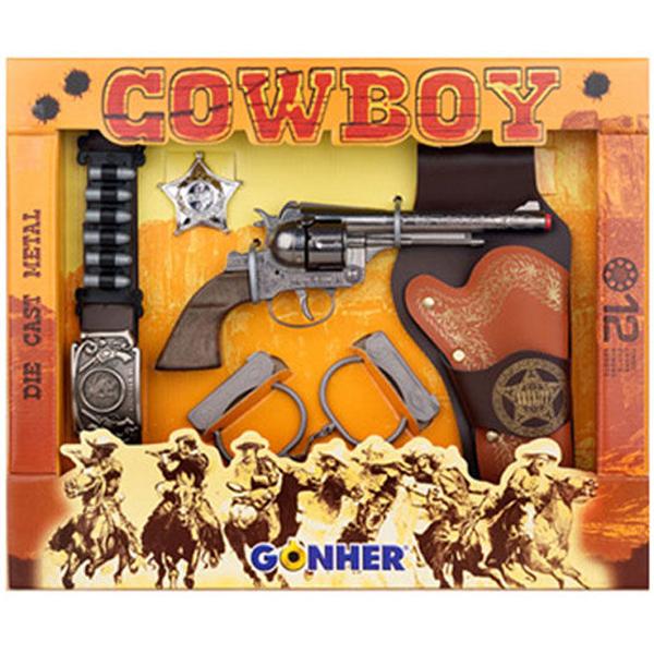 Игрушечное оружие Gonher Cowboy. Револьвер в кобуре, ремень, звезда шерифа и наручники