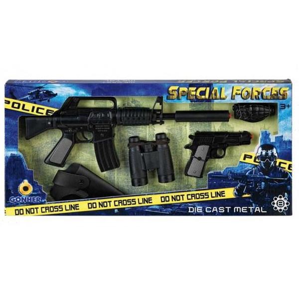 Игрушечное оружие Gonher Special Forces. Автомат, пистолет, бинокль, кобура и полицейский значок