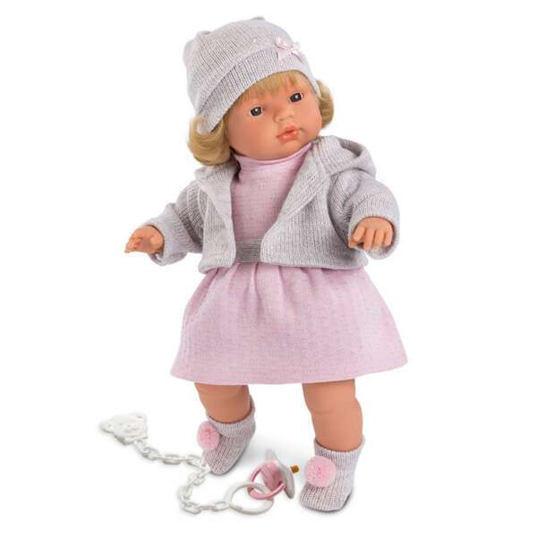 Кукла Llorens Лола 38см, блондинка в серой шапочке