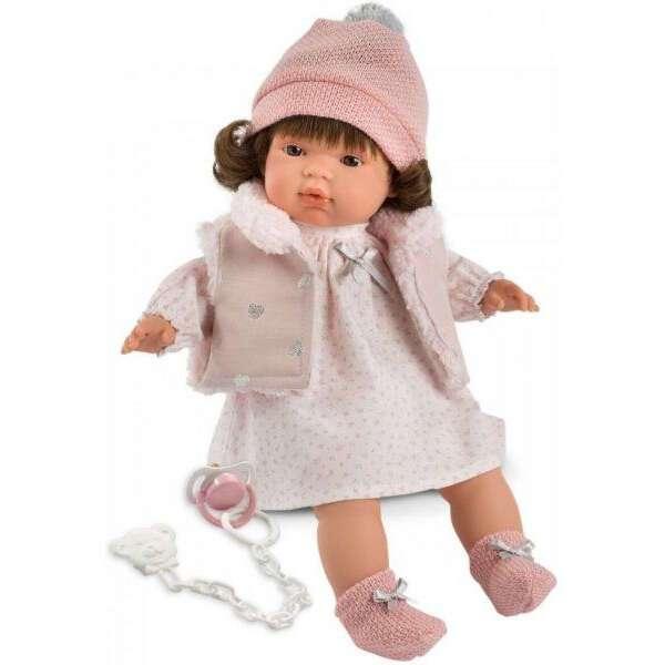 Кукла Llorens Люся 38см, брюнетка в розовй шапочке