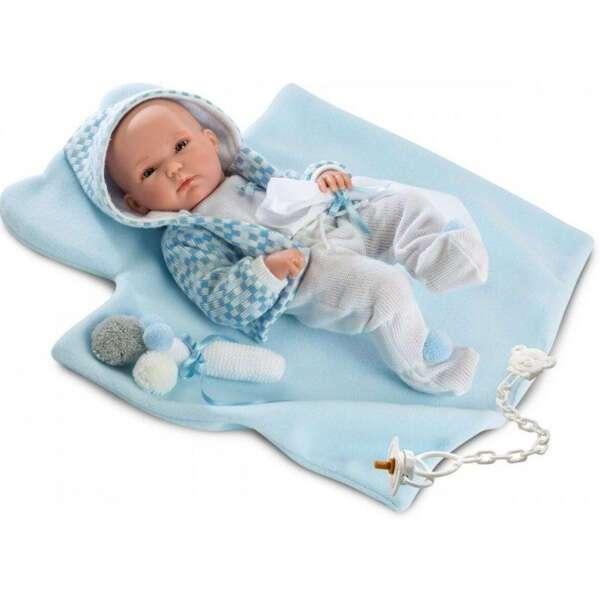 Кукла Llorens малыш 35 см в голубой курточке с одеялом