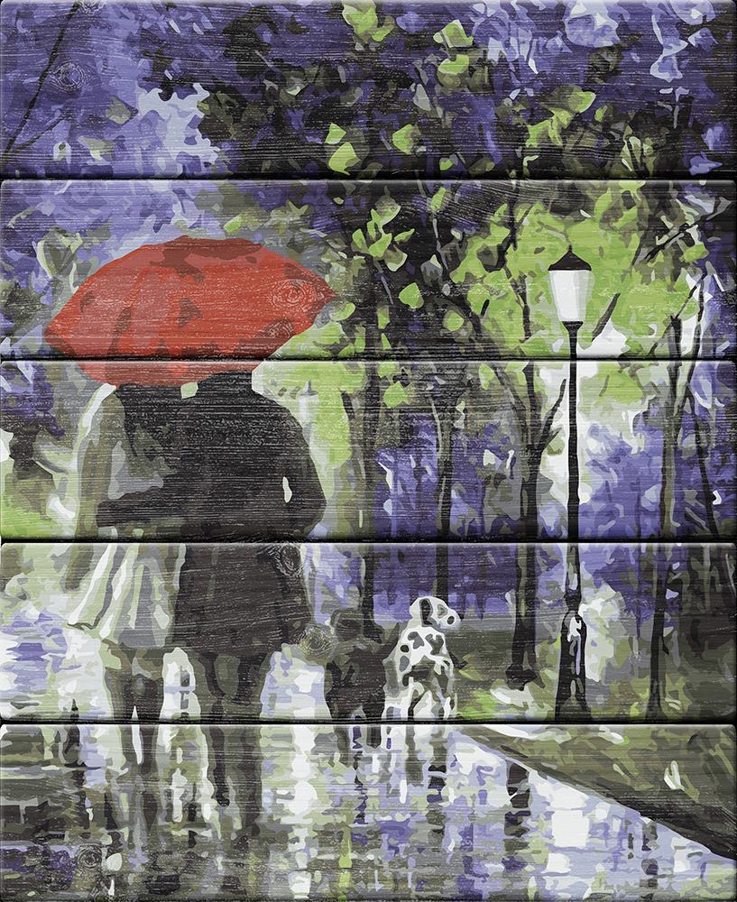 """Набор для раскрашивания по номерам (по дереву) 40 х 50 см Фрея """"Под красным зонтом"""" PKW-1 84"""