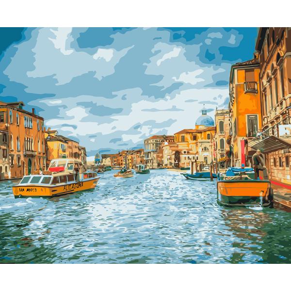 """Набор для раскрашивания по номерам (на холсте) 40 х 50 см Фрея """"Прогулка по Венеции"""" PNB-1 №48"""