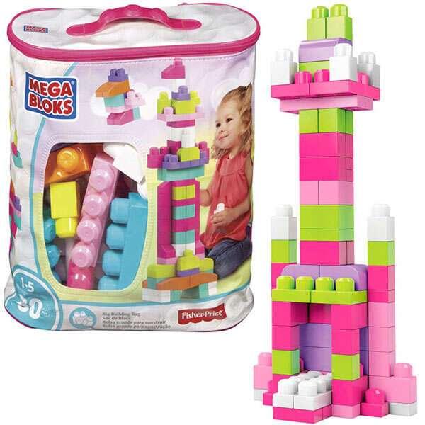 """Конструктор Mattel Первостроители """"Мега Блоки"""" 80шт, розовый (DCH62)"""