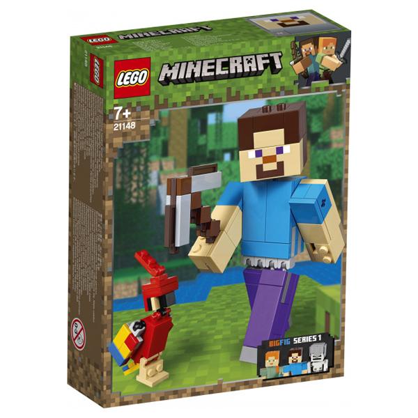 Конструктор LEGO Большие фигурки Стив с попугаем Minecraft 21148