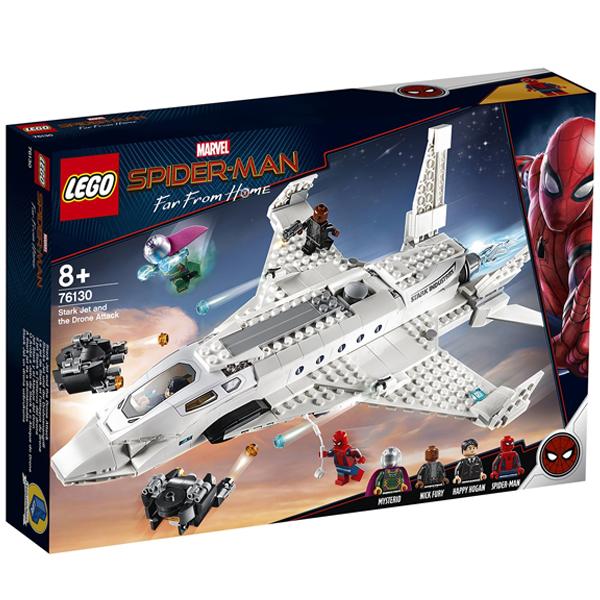 Конструктор Lego Реактивный самолёта Старка и атака дрона Super Heroes 76130