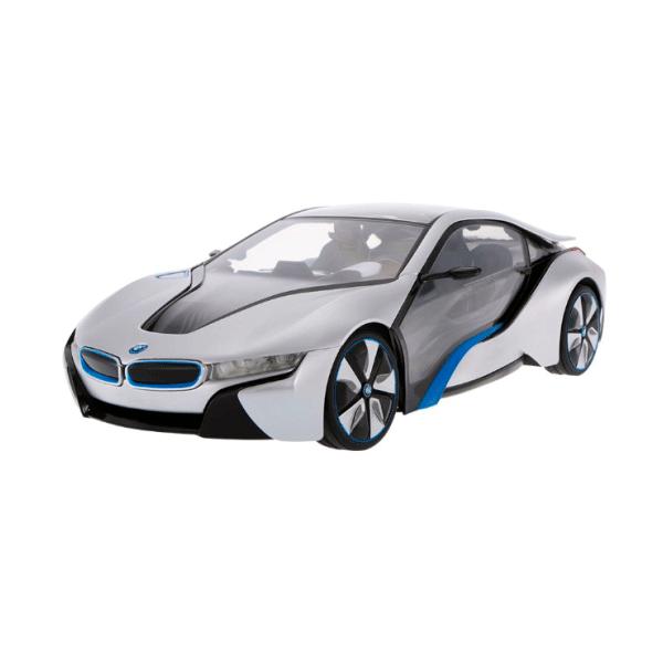 Радиоуправляемая машина Rastar BMW i8, 49600-11S, 1:14, Пластик, Подсветка салона, 40 Mhz, Серебристый
