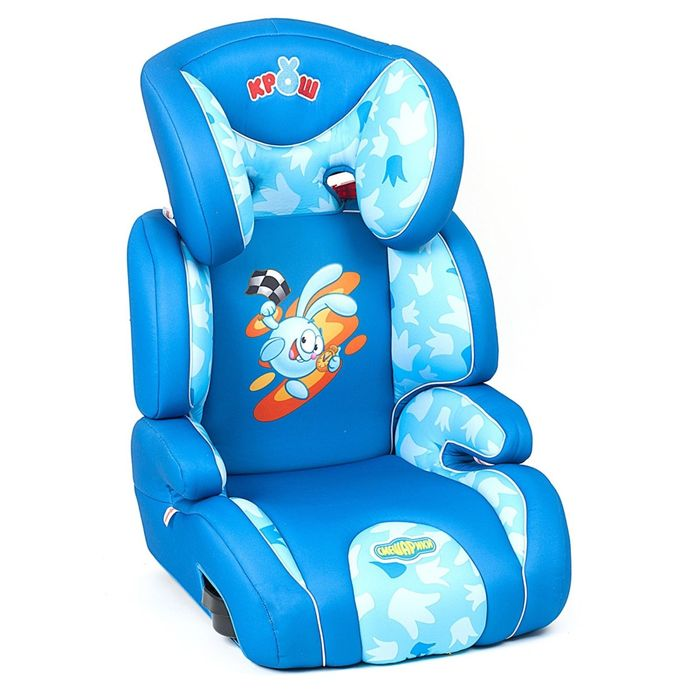 """Детское кресло """"Смешарики"""", группы 2/3 (15-36 кг/3-12 лет), полиэстер, поролон 3 см, цвет синий/голубой, SM/DK-400 Krosh"""