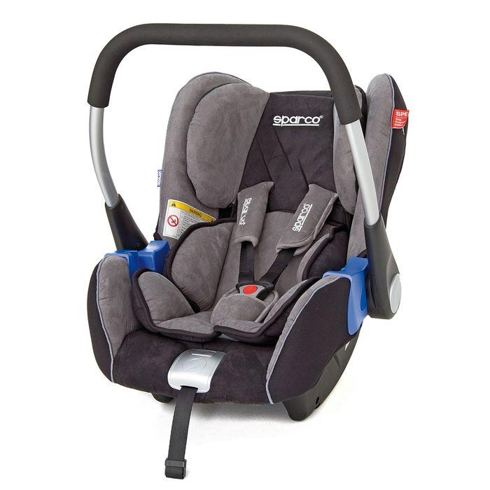Детское кресло Sparco F300i-GY, группа 0+ (0-13 кг/0-12 мес), люлька, алькантара, цвет чёрный/серый, SPC/DK-100 BK/GY