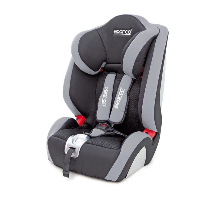 Детское кресло Sparco F1000K, группы1/2/3 (9-36 кг/9 мес-12 лет), полиэстер + объёмная сетчатая ткань, цвет чёрный/серый, SPC/DK-350 BK/GY