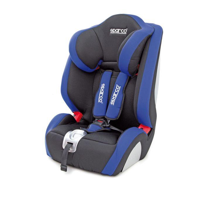 Детское кресло Sparco F1000K, группы1/2/3 (9-36 кг/9 мес-12 лет), полиэстер + объёмная сетчатая ткань, цвет чёрный/синий, SPC/DK-350 BK/BL
