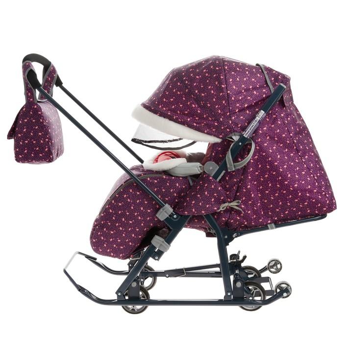 Санки-коляска «Ника Детям НД 7-1Б», принт: с фламинго сливовый