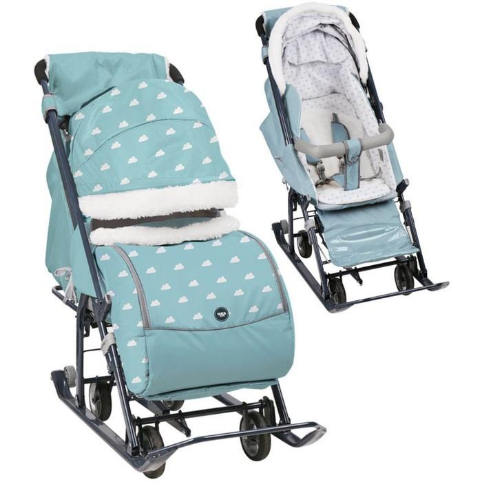 Санки-коляска «Ника Детям НД 7-1Б», принт с облачками голубой