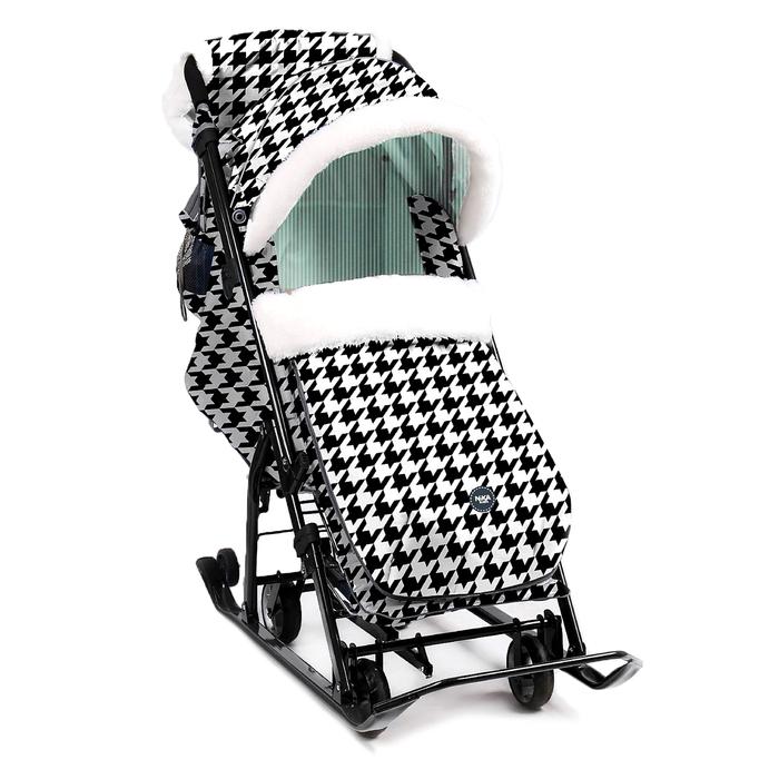 Санки-коляска «Ника Детям НД 7-5», принт гусиная лапка