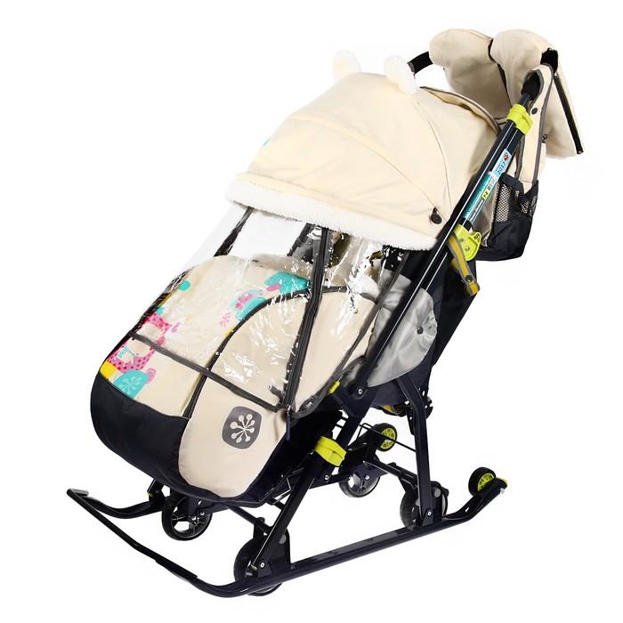 Санки-коляска «Ника детям 7-2. Мишка», цвет бежевый