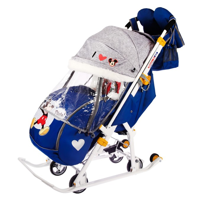 Санки-коляска «Disney-baby 2. Микки Маус», цвет тёмно-синий