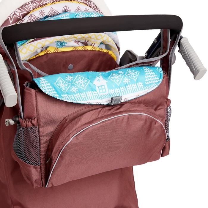 Санки-коляска «Ника Детям НД 7-7», принт скандинавский, цвет бирюзовый, механизм качания