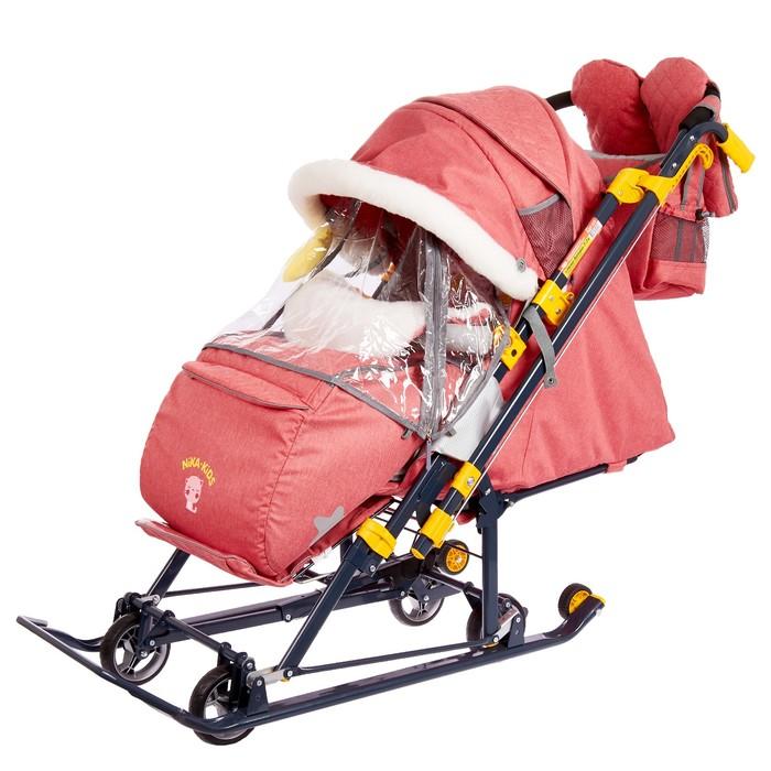 Санки-коляска «Ника Детям НД 7-7», дизайн в джинсовом стиле красный, механизм качания