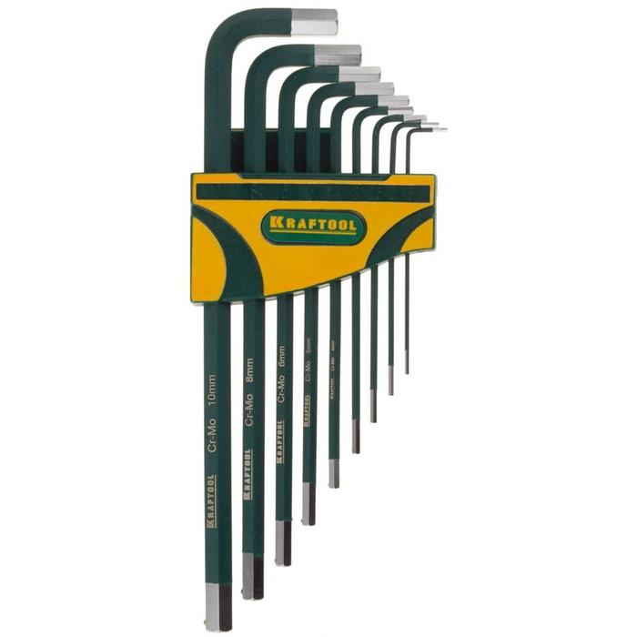 Набор ключей KRAFTOOL 27443-H9, имбусовых, длинные, Cr-Mo, HEX 1.5-10 мм, 9шт