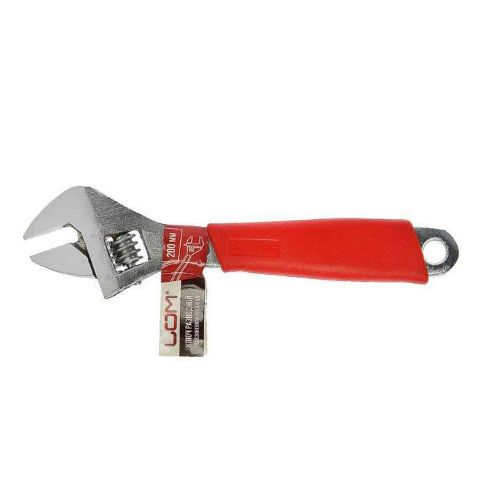 Ключ разводной LOM, пластиковая рукоятка, 200 мм