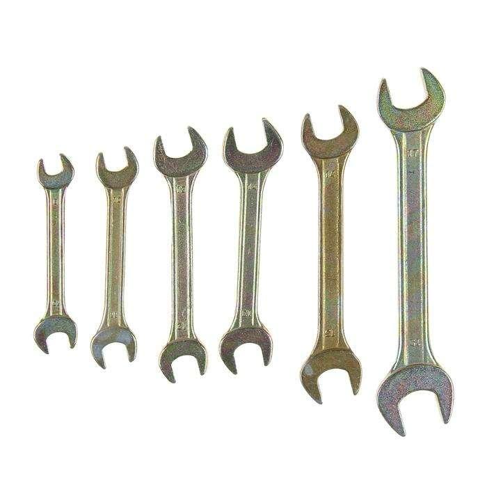 Набор ключей рожковых TUNDRA basic, холдер, желтый цинк, 6 шт, 8-19 мм