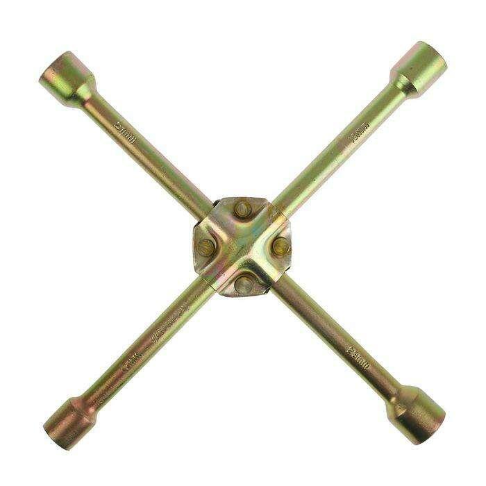 Ключ балонный TUNDRA premium, крестообразный, желтый цинк, D16х350 мм, 17х19х21х23 мм