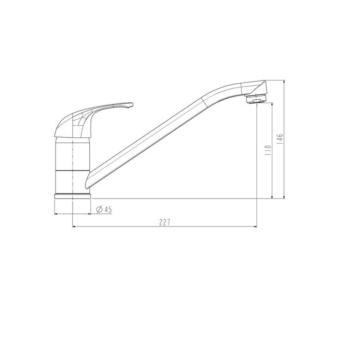 Смеситель для кухни ESKO Riga RG 05, излив 235 мм, хром