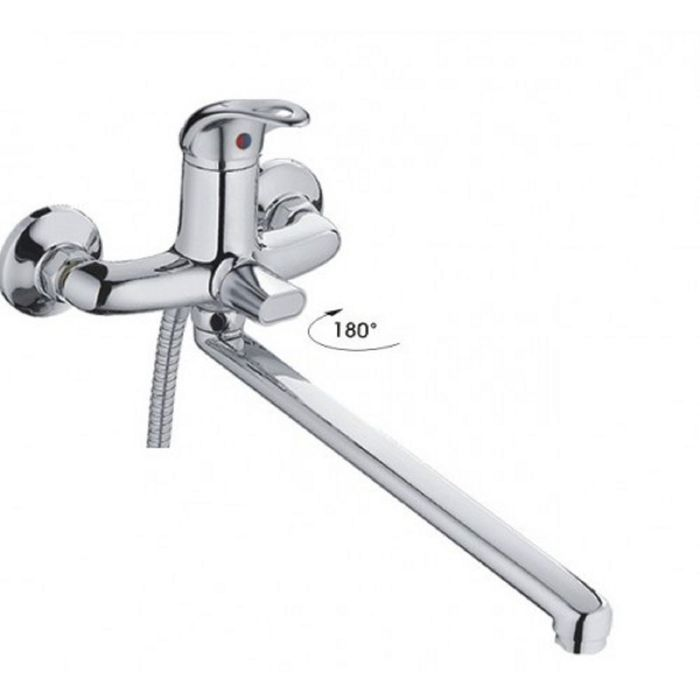 Смеситель для ванны Haiba HB2215-К, с длинным изливом, шаровый переключатель, хром