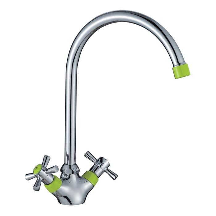 Смеситель для кухни Decoroom DR46028-Green, двухвентильный, с поворотным изливом, зелёный