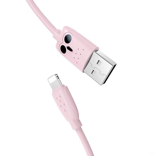 Кабель Hoco KX1 Lightning charging data cable Pink