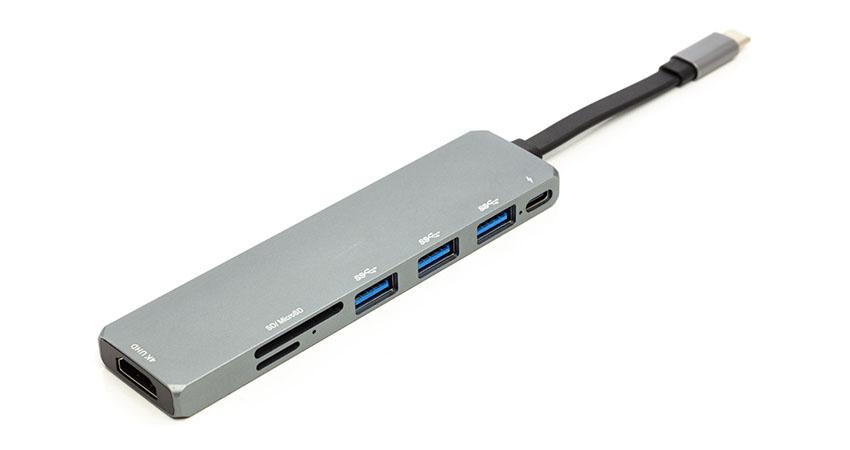 Переходник PowerPlant USB 3.1 Type-C - USB Hub, HDMI, Card Reader (SD, micro SD) CA912094