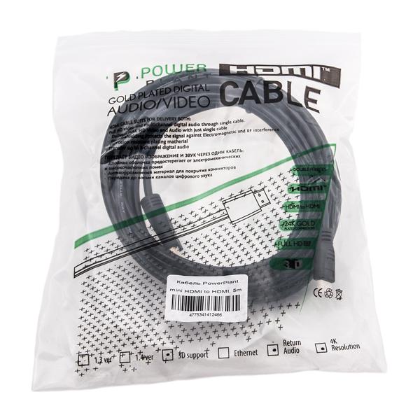 Видео кабель PowerPlant HDMI - mini HDMI, 5м, позолоченные коннекторы, 1.3V KD00AS1246
