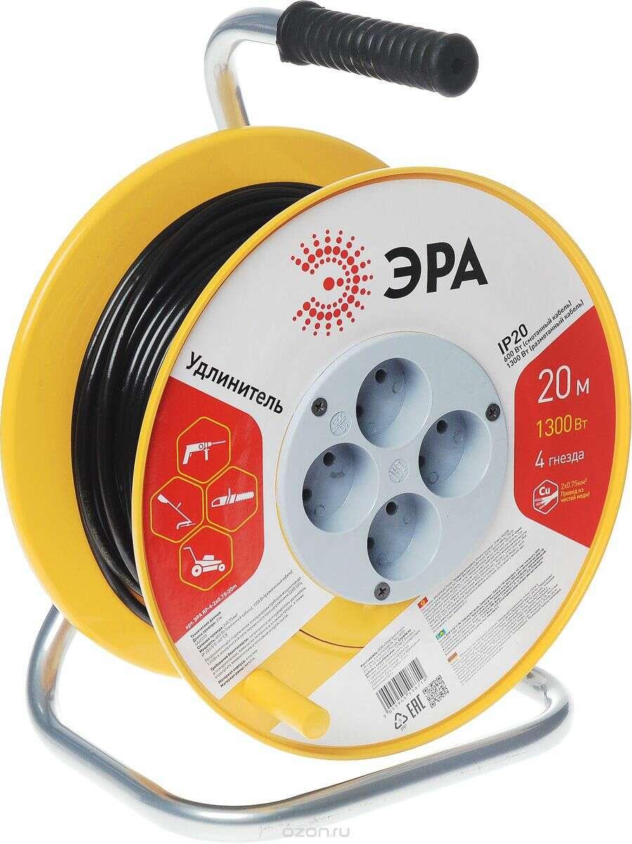 Удлинитель ЭРА (пластиковая катушка без заземления) RP-4-2x0.75-20m
