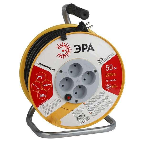 Удлинитель ЭРА (пластиковая катушка без заземления) RP-4-2x1.0-50m пласт.катушка без заземления