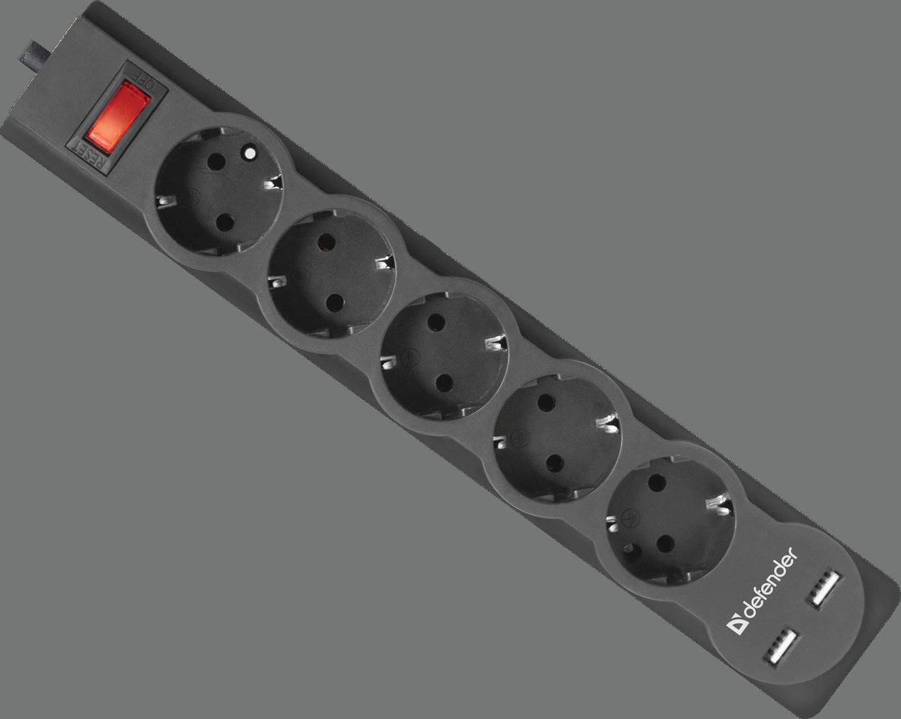 Сетевой фильтр Defender DFS 753 5 роз., 3.0 м, 2 USB порта