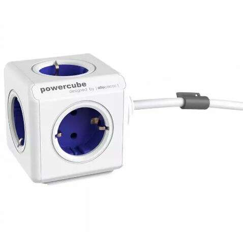 Разветвитель Allocacoc PowerCube Extended с кабелем 1.5М BLUE