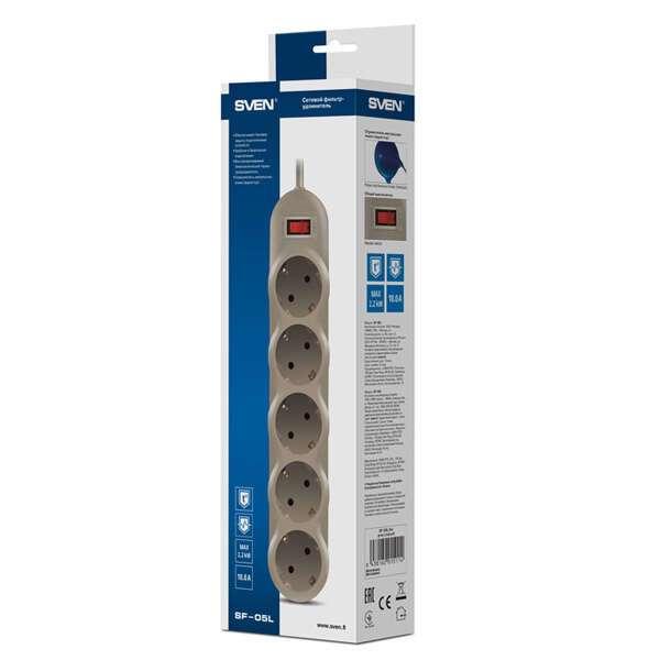 Сетевой фильтр Sven 1.8 м, 5 розеток, серый (SF-05L) + Sven 1.8 м, 5 розеток (SF-05L)