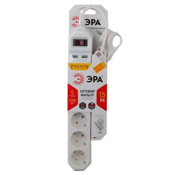Сетевой фильтр ЭРА USF-5es-1.5m-USB-W