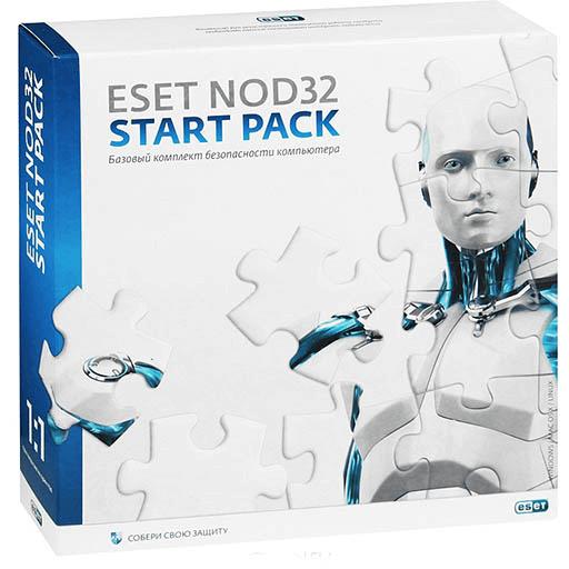 Лицензия ESET NOD32 Start Pack - базовый комплект,  лицензия на 1 год на 1ПК