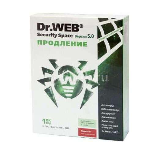 Dr.Web Security Space, 12мес, на 1 ПК (продление)