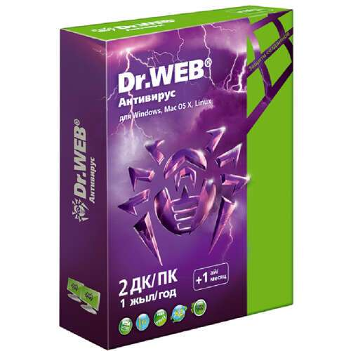 Антивирус Dr.Web Pro 2 ПК, 1 год + подарки