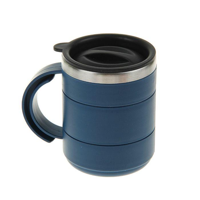 "Термокружка ""Каркан"" с крышкой, 450 мл, синяя,  микс 12.5х10.5 см"