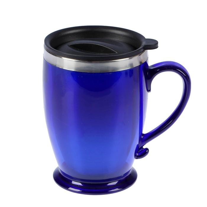 """Термокружка """"Виго"""" с ручкой, 450 мл, сохраняет тепло 2-3 ч, синяя, 9х12.5 см"""