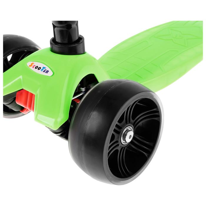 Самокат стальной, колёса световые PU d=11/5 см, ABEC 7, до 65 кг, цвет зелёный